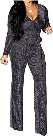 Fieer Womens Long Sleeve Regular-Fit Belted V-Neck Knitted Bodycon Jumpsuits