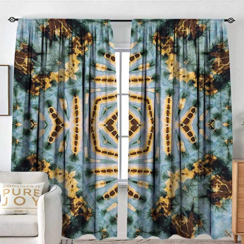 Petpany Bathroom Curtains Hippie,Close Hippie Kaleidoscope Motif Maya Clan Figures Dirt Tones Counter Culture Print,Yellow Blue,Drapes Thermal Insulated Panels Home décor 54