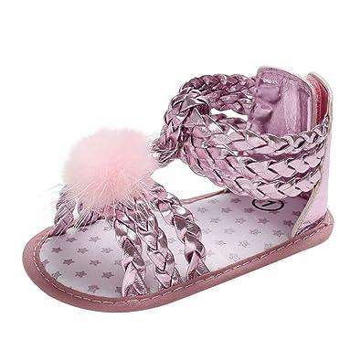 🎀 Sandalias de bebé niña pequeña | Elegantes Lindos Pompones Lentejuelas Suelas Suaves Zapatos Antideslizantes Zapatos cómodos - Zapatos de Princesa ...