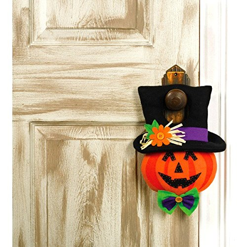 Amscan Family Friendly Jack-O-Lantern Door Hanger Halloween Trick or Treat Party Decoration, Plastic, 13