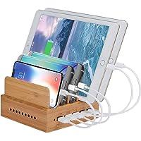 Yisen Handy Aus Holz Bambus Multi Smartphone USB Ladestation 5 Anschlüsse 5 Ports 6A 30W USB Organiser Dockingstation für Smartphones Tablets(PAL Stromkabel)