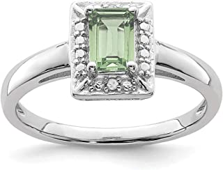 Argent Sterling 925Taille émeraude Quartz Prase et Bague de fiançailles en Diamant, 0,51Carat au Total