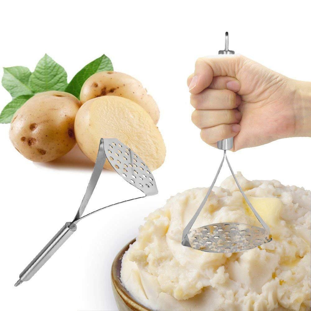 25cm in a Beech Wood Finish Handle Vegetable Masher Kosma Stainless Steel Potato Masher