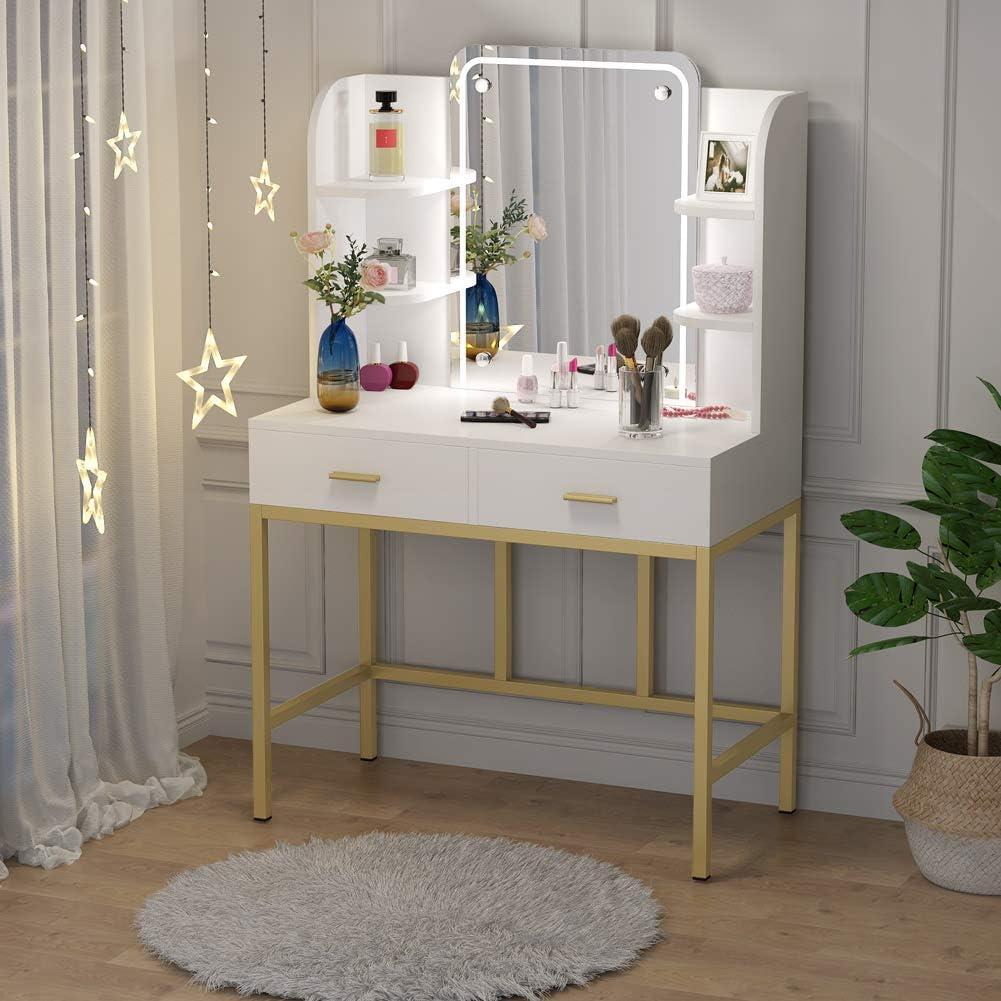 Outwin Bureau de Maquillage Coiffeuse Blanche avec Tabouret et Miroir Pivotant Table de Maquillage en Bois Massif 4 tiroirs 1 miroirs pour Chambre et Dressing