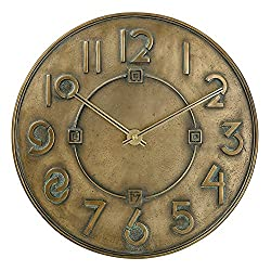 Bulova C3333 Frank Lloyd Wright Exhibition Wall Clock, Antique Bronze Metallic Finish