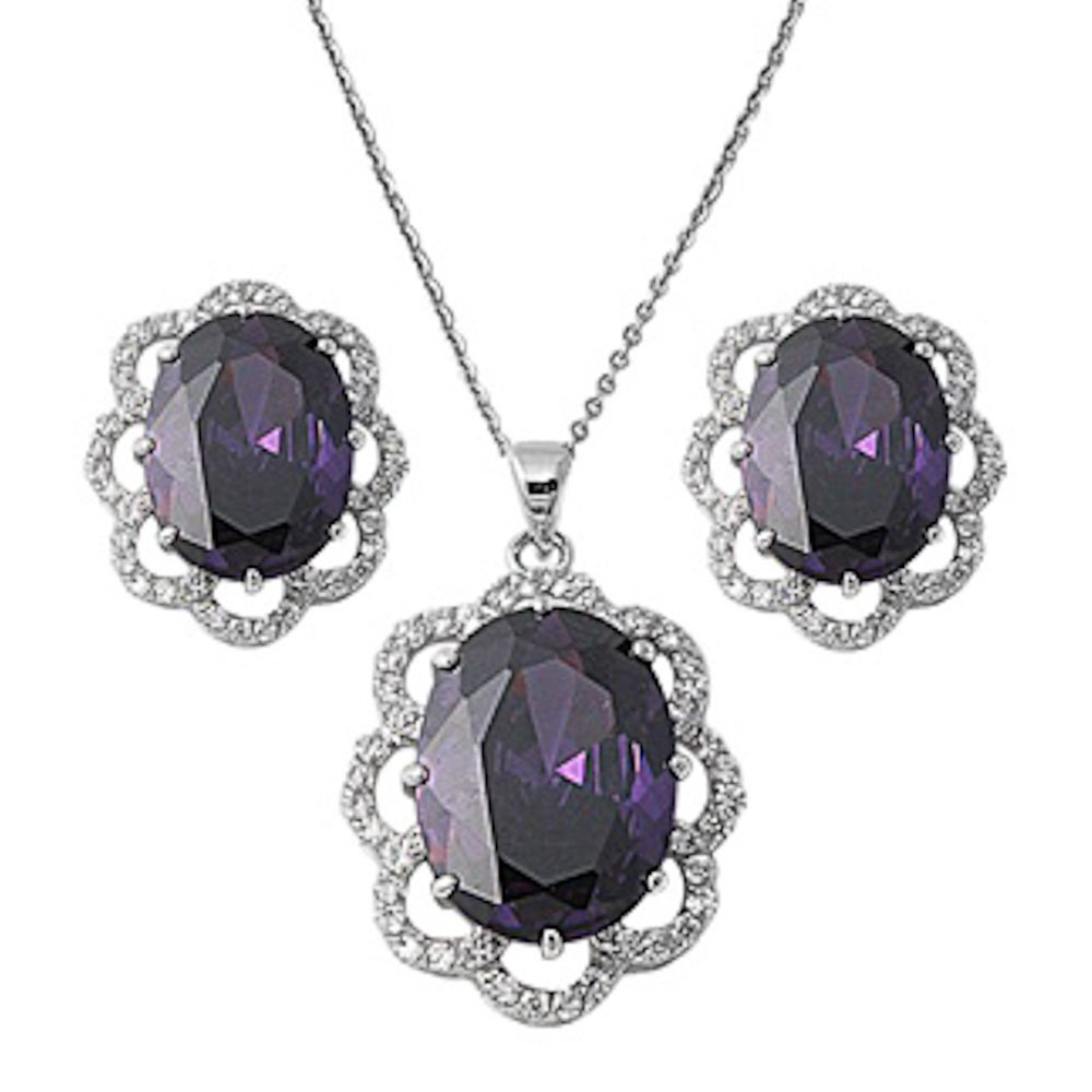 8Ct Oval Faceted Amethsyt /& Cz Pendant Necklace /& Earring Jewelry Set Solid .925 Sterling Silver