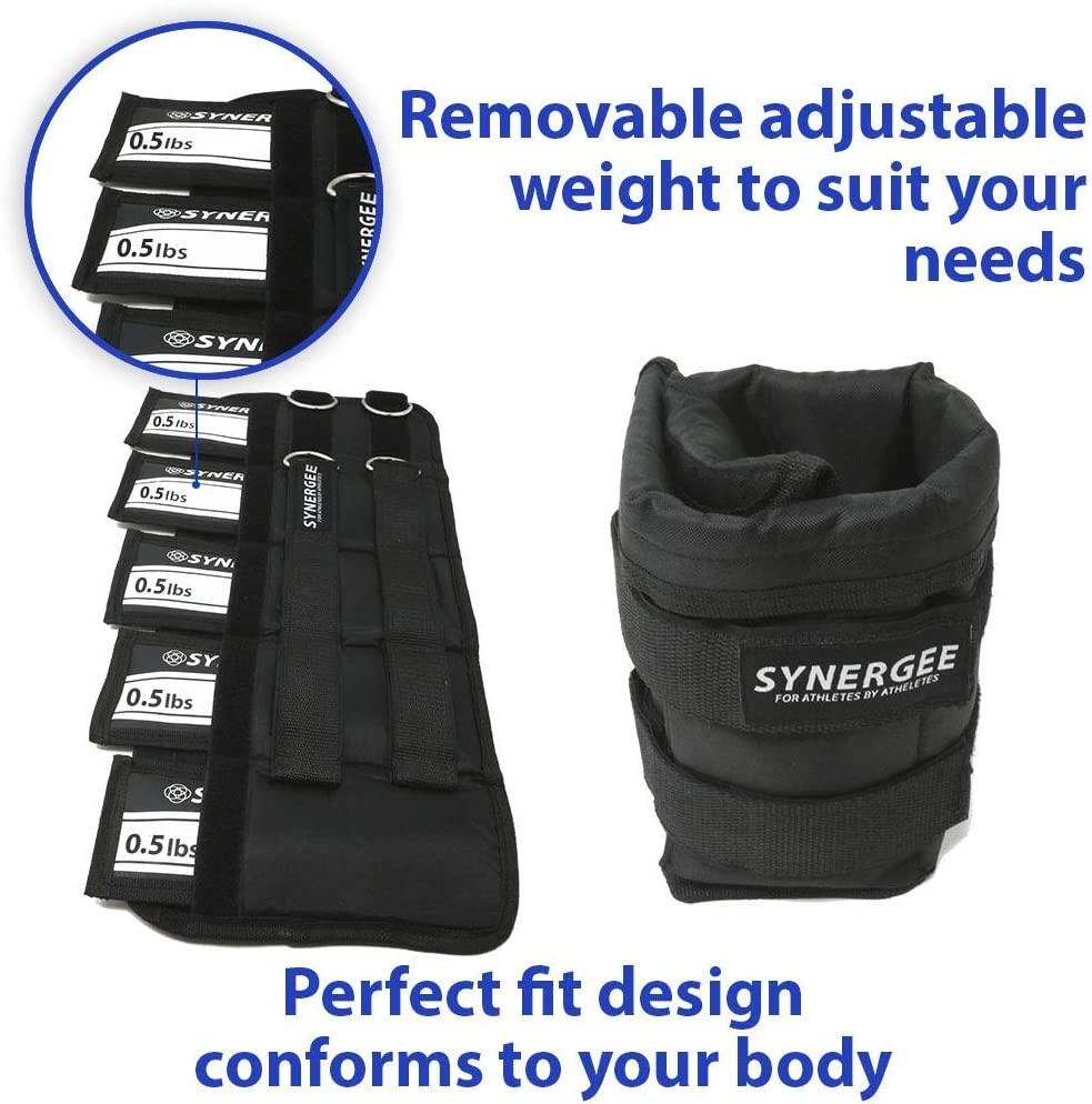 Set of 2 10lb /& 20lbs Synergee Comfort Fit Fixed /& Adjustable Ankle//Wrist Weights 5lb Available in 1lb One Size Fits All 2lb