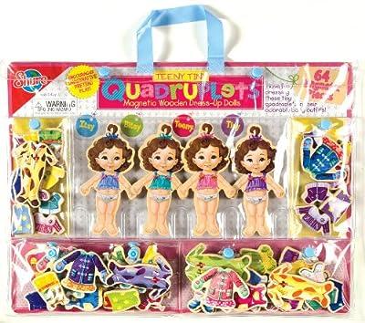 T.S. Shure Teeny Tiny Quadruplets Magnetic Wooden Dress-Up Dolls