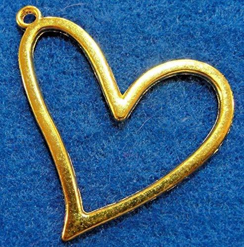 25Pcs Wholesale Large Tibetan Gold Open Heart Charm Pendants Earring Drops Q1102 Crafting Key Chain Bracelet Necklace Jewelry Accessories Pendants