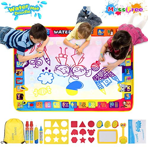 Shape Mart Aqua Magic Mat - Large Drawing Water Doodle Mat for Toddler, Mess Free Paiting Mat with Magic Pens, Educational Toys for Age 2 3 4 5 6 7 ()
