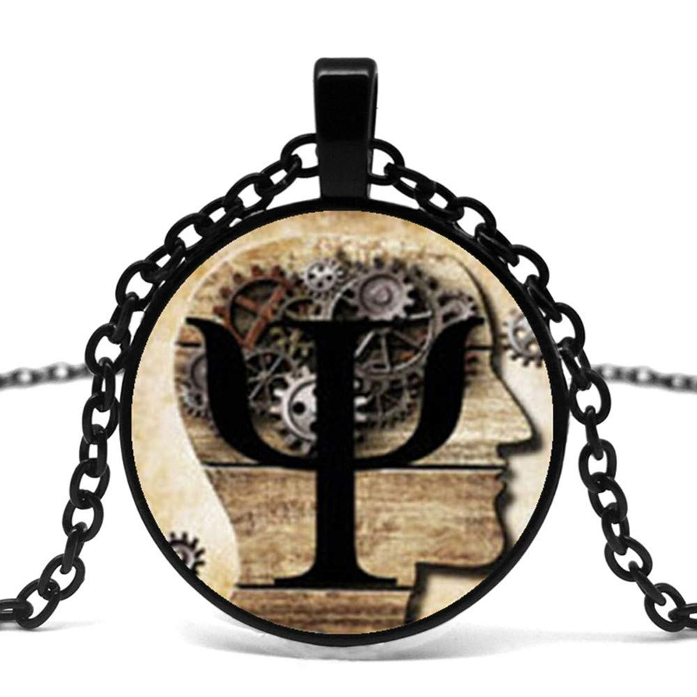 Mens necklace New Steampunk Symbol Necklace Psychology Pendant Glass Dome Pendant Female Necklace MenS Gift Necklace.