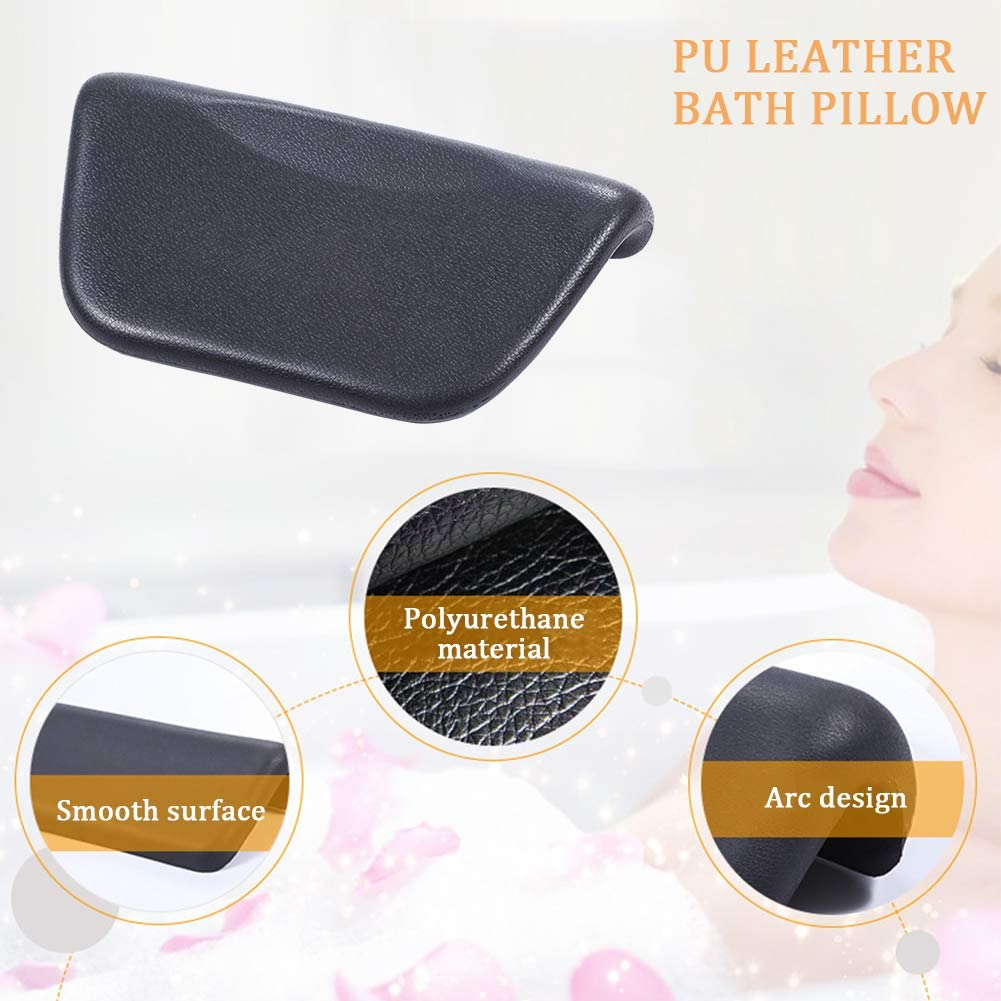 Ergonomic for All Bathtub Back Shoulder and Neck Support Head Hot Tub,for Home Head and Neck Rest Home Spa-Black MOVKZACV 4D PU Leather Bath Pillow with Suction Cups