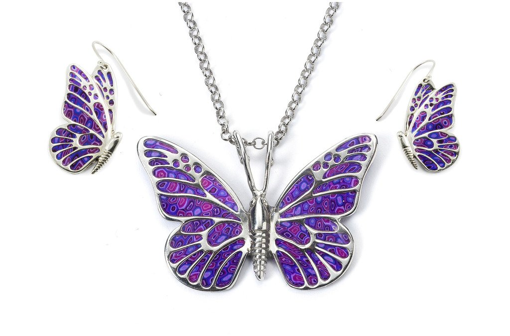 925 Sterling Silver Butterfly Jewelry Set Purple Polymer Clay Necklace and Dangle Earrings, 16.5''