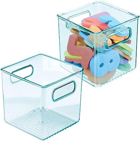 couches etc grand panier de rangement avec poign/ées pratiques bac de rangement en plastique sans BPA pour jouets bleu clair lot de 2 mDesign rangement chambre enfant