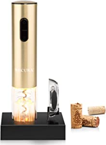 Secura Electric Wine Opener, Automatic Electric Wine Bottle Corkscrew Opener with Foil Cutter, Rechargeable (Champagne Gold)