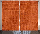 Burnt Orange Curtains Burnt Orange Decor Curtains by Ambesonne, Faded Burlap Texture Print Background of Macro Thick Fabric Graphic Mat Artrpint, Drapes 2 Panel Set for Living Room Bedroom, 108W X 84L Inches, Burnt Orange