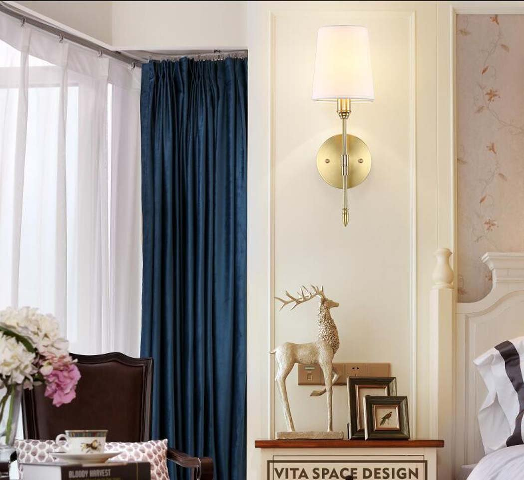 Lámpara de pared de cobre llena, luces de pared de tela minimalista americano, lámpara de pared de arte de estera de restaurant de estera de restaurant: ...