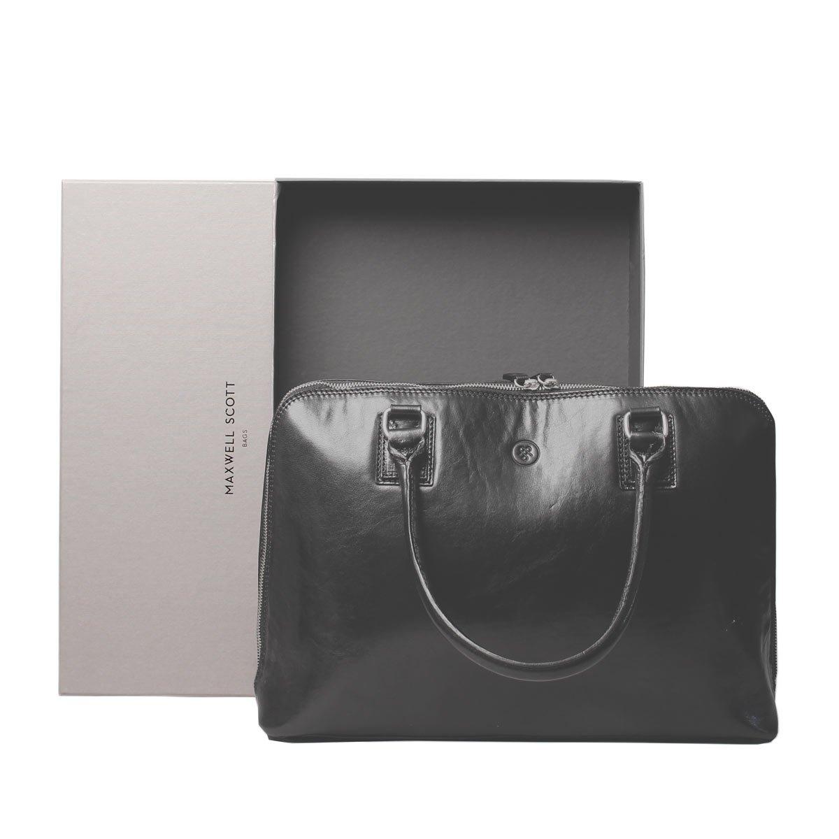 Maxwell Scott Luxury Ladies Black Leather Work Bag Purse for Macbook (Fiorella) by Maxwell Scott Bags (Image #7)