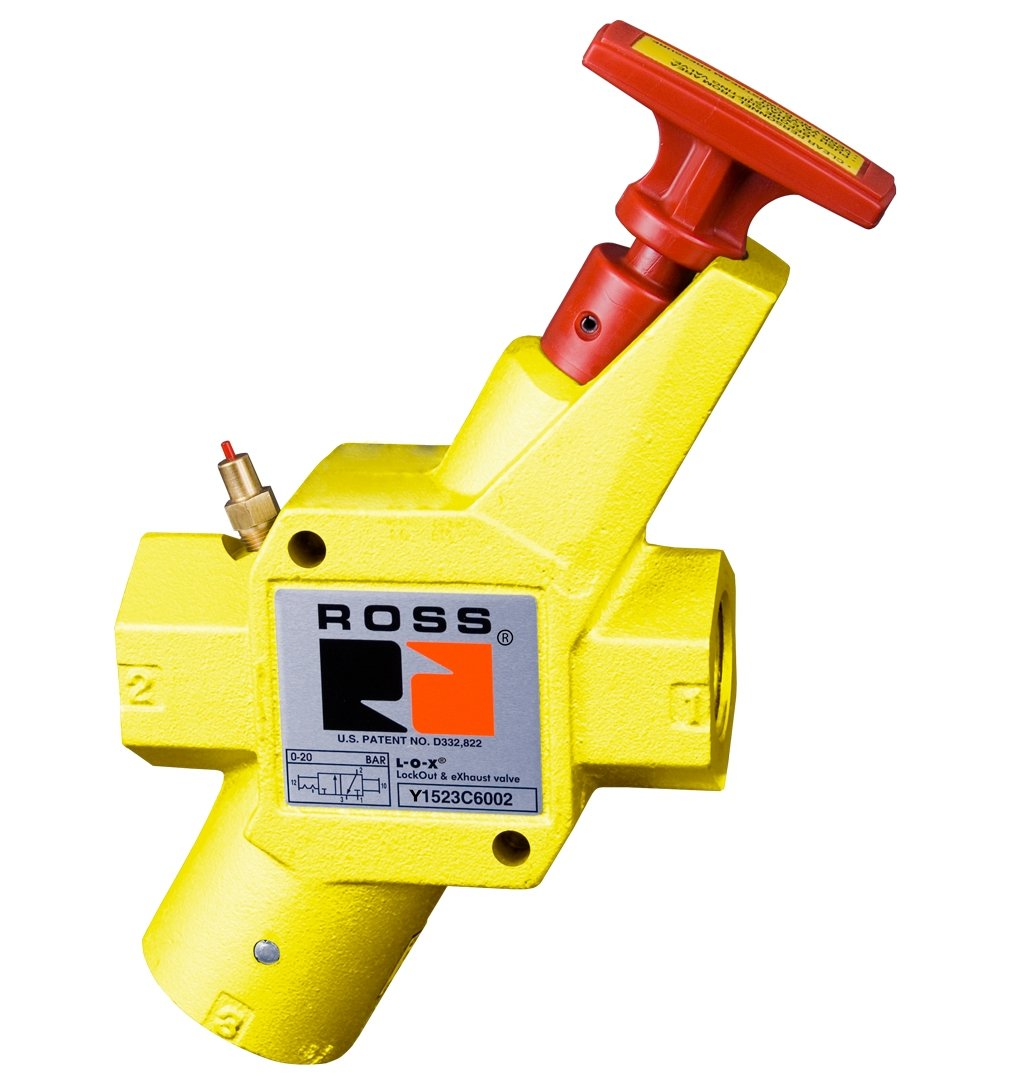 Ross Controls Y1523B4102 Lockout and Soft Start Valve 15 Series/Classic Valve, Manual 3/2 Way, 1/2'' In-Out, 3/4'' Exhaustaust NPT