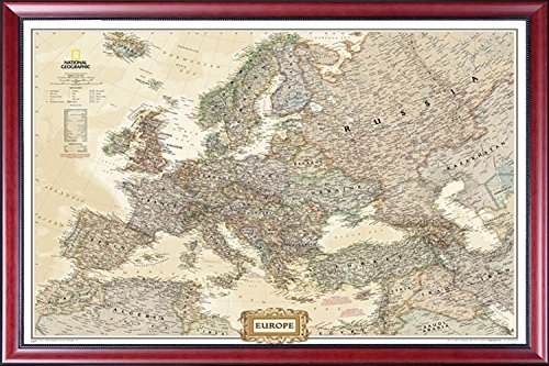 Framed Europe Map with Cities and Countries Map by National Geographic Current Map of Europe by Poster Art House