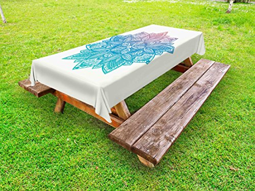 Lunarable Gypsy Outdoor Tablecloth, Mandala Boho Paisley Petals Ethnic Meditation Symbol Universe Sacred, Decorative Washable Picnic Table Cloth, 58 X 104 inches, Dried Rose Blue Turquoise by Lunarable