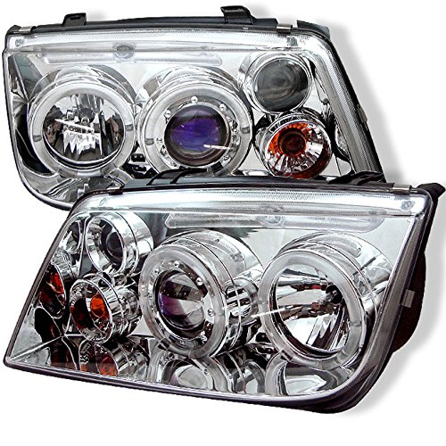 a A4 Chrome Clear Halo Ring Projector Headlight Front Lamps Replacement Pair (Jetta Halo Projector Headlights)
