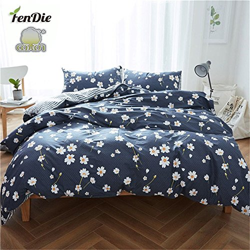 FenDie 3 Piece Duvet Cover Full Bedding Sets Floral Pattern