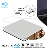 External Blu Ray DVD Drive Burner Player USB3.0 Type-C Portable Slim Automatic slot-loading CD/DVD-RAM/BD-ROM Superdrive +/- RW Rewriter/Reader with High Speed Data for Laptop PC Windows Mac OS-Silver
