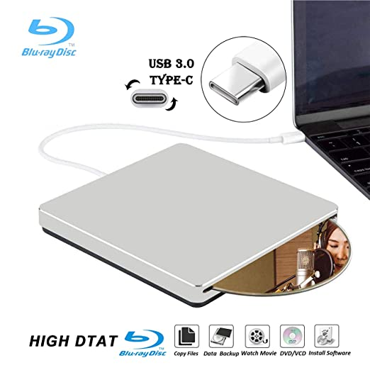 External Blu Ray DVD Drive Burner Player USB3 0 Type-C Portable Slim  Automatic slot-loading CD/DVD-RAM/BD-ROM Superdrive +/- RW Rewriter/Reader  with