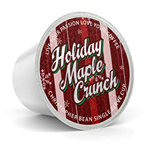 Holiday Maple Crunch Single Cup (Regular), Holiday Coffee Christopher Bean Coffee. (18 Count Box) Seasonal Gift Christmas, Compatible With K Cup Brewer