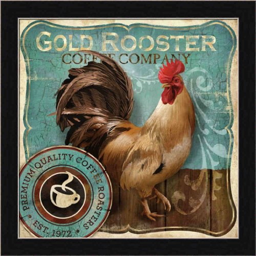 Gold Rooster by Conrad Knutsen Coffee Kitchen 13.5x13.5 Framed Art Print Picture Wall Decor (Pictures Framed Rooster)