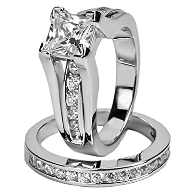 Womens Stainless Steel Princess Cut AAA CZ Jewelry Wedding Ring Set