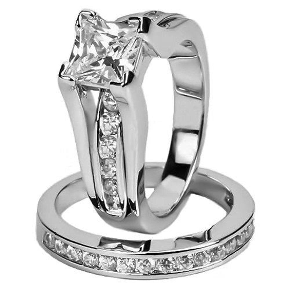 Women's Stainless Steel Princess Cut AAA CZ Jewelry Wedding Ring Set (5)