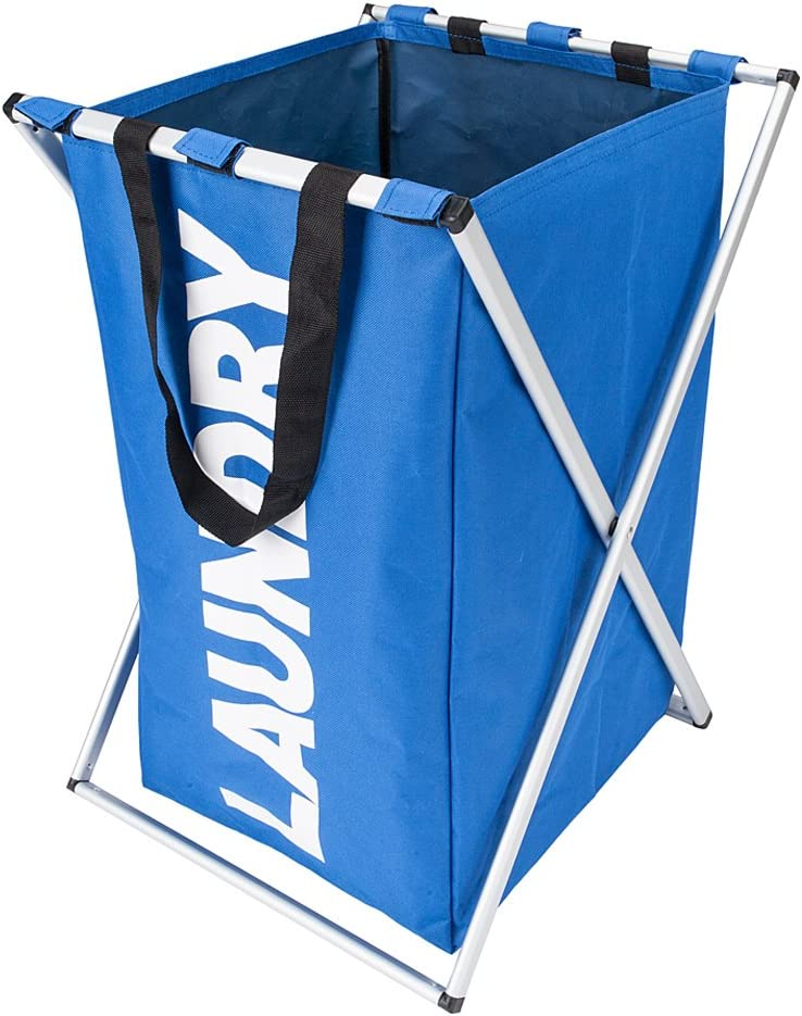 Upzone Laundry Basket Portable Single Lattice Laundry Hamper Basket With Aluminum Frame Durable Dirty Clothes Bag For Bathroom Bedroom Home Blue Amazon Co Uk Kitchen Home