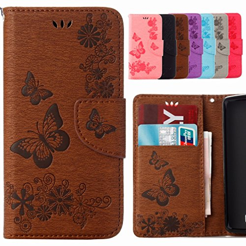 Yiizy Lenovo A1000 Case, Butterfly Flower Design Flip Flap Wallet Case Cover Housing Premium Pu Leather Cover Protective Shell Bumper Case Shell Skin Slim Stand Style Slot Cards (marró