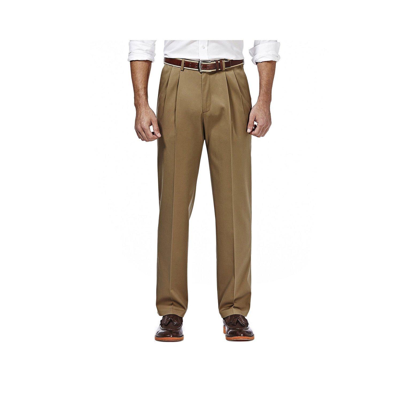Haggar Premium No Iron Stretch Classic Fit Pleated Pants British Khaki 40x34
