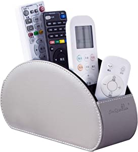 Tv Remote Control Holders Organizer Box with 5 Compartment PU Leather Multi-functional Office Organization and Storage Caddy Store Tv Remote Holders,Brush,Pencil,Glasses and Media Player (2GARY)