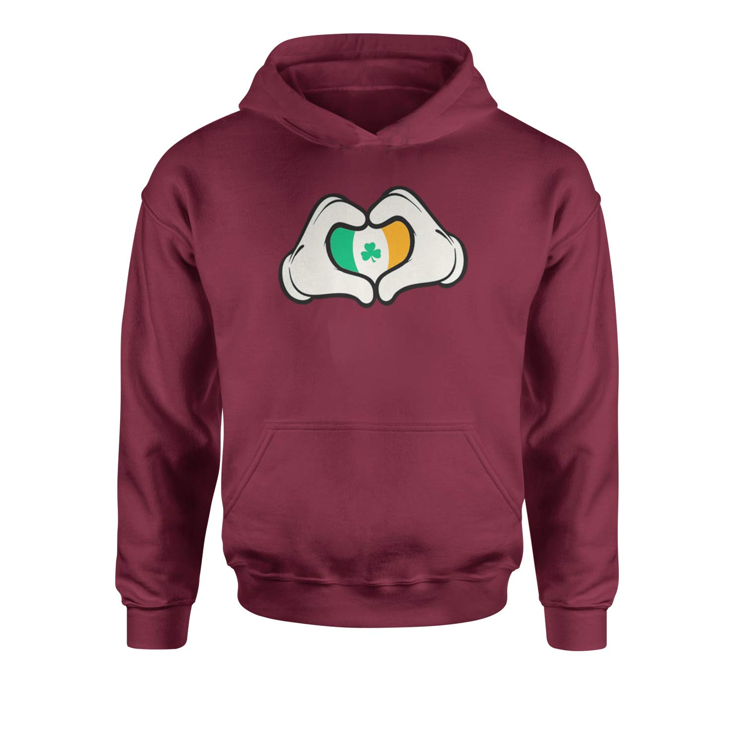 Expression Tees Ireland Flag Cartoon Hands Youth-Sized Hoodie