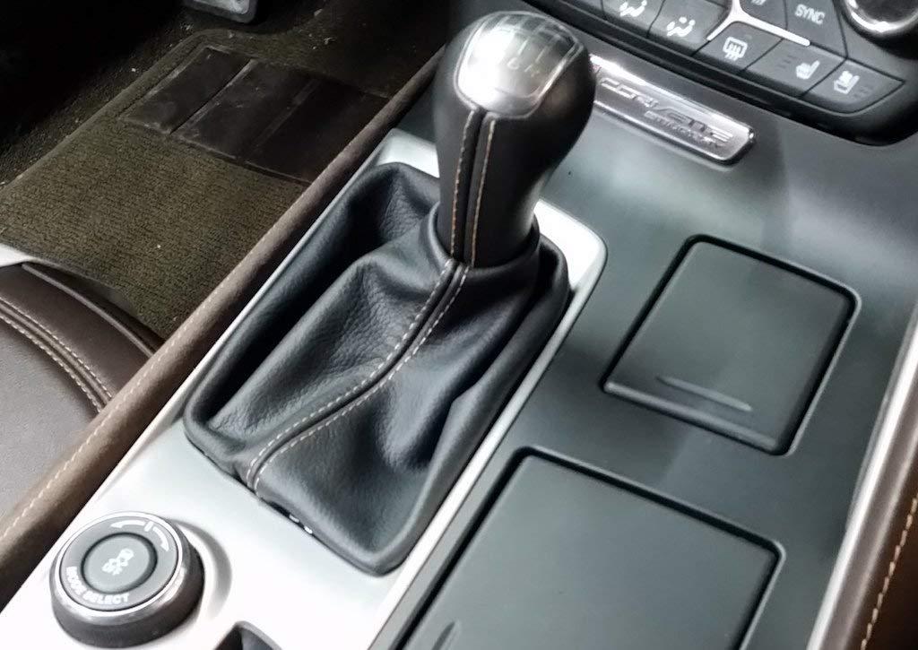 RedlineGoods Shift Boot Compatible with Chevrolet Corvette C7 2014-19 Black Alcantara-Silver Thread