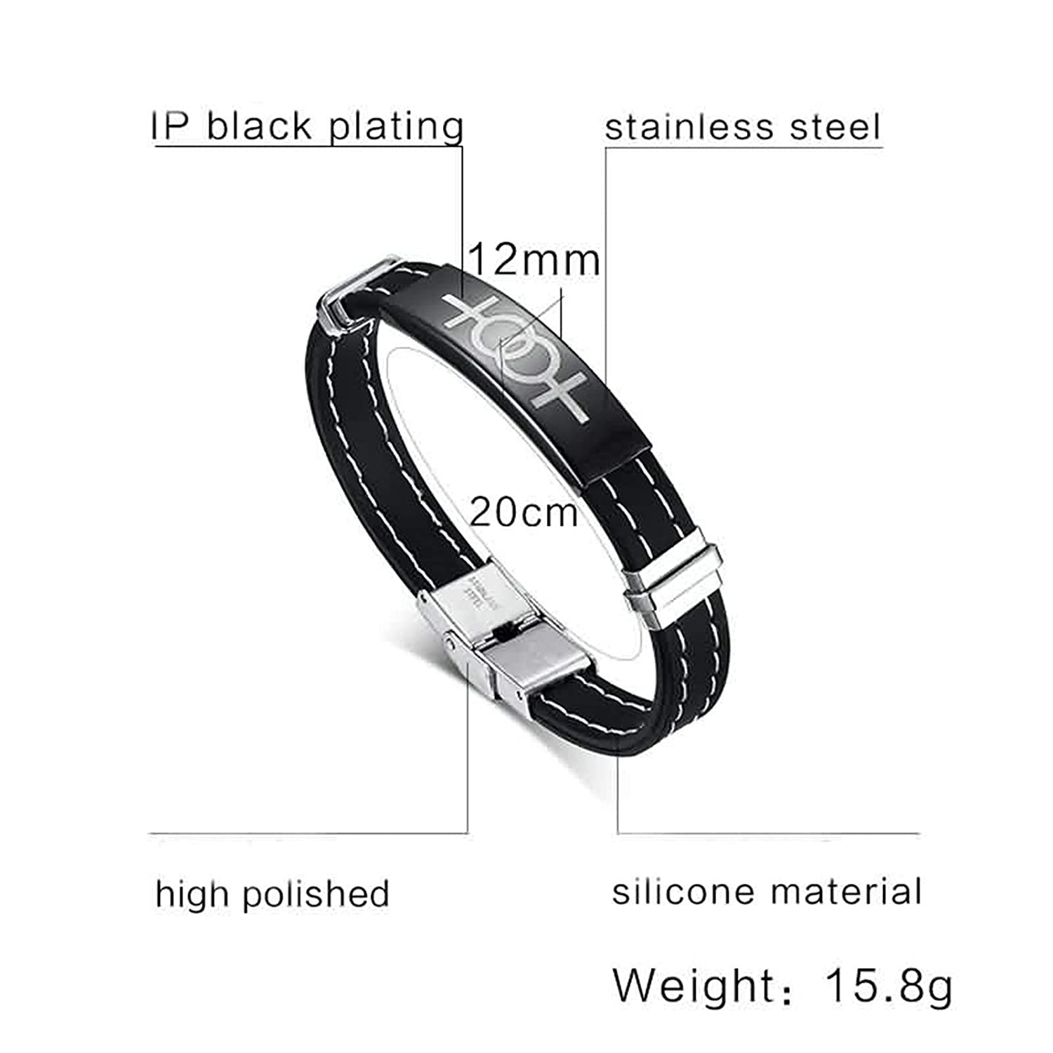 Aokarry Jewelry Women Stainless Steel Bracelet Chain Bracelet Silicone Double Girls Symbol Silver Black 20 cm