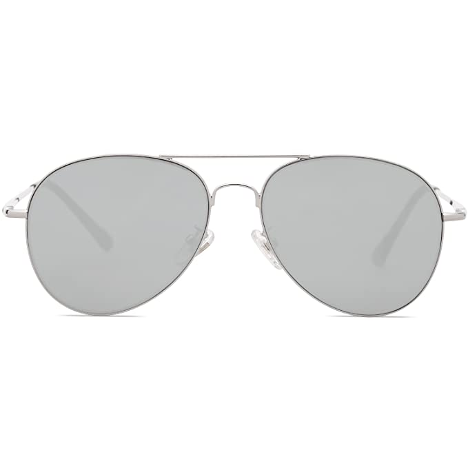 465957e6b6b SOJOS Classic Aviator Mirrored Flat Lens Sunglasses Metal Frame with Spring  Hinges SJ1030 with Silver Frame