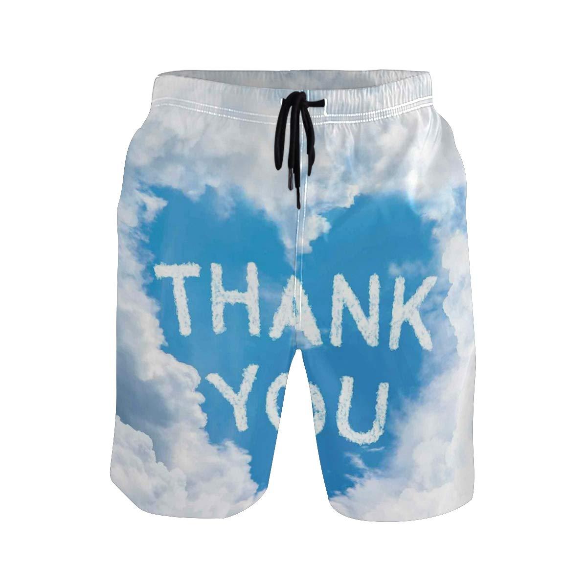 KVMV Writings On Air Heart Shaped Cloud Thank You Girlfriend and Boyfriend Quick Dry Beach Shorts