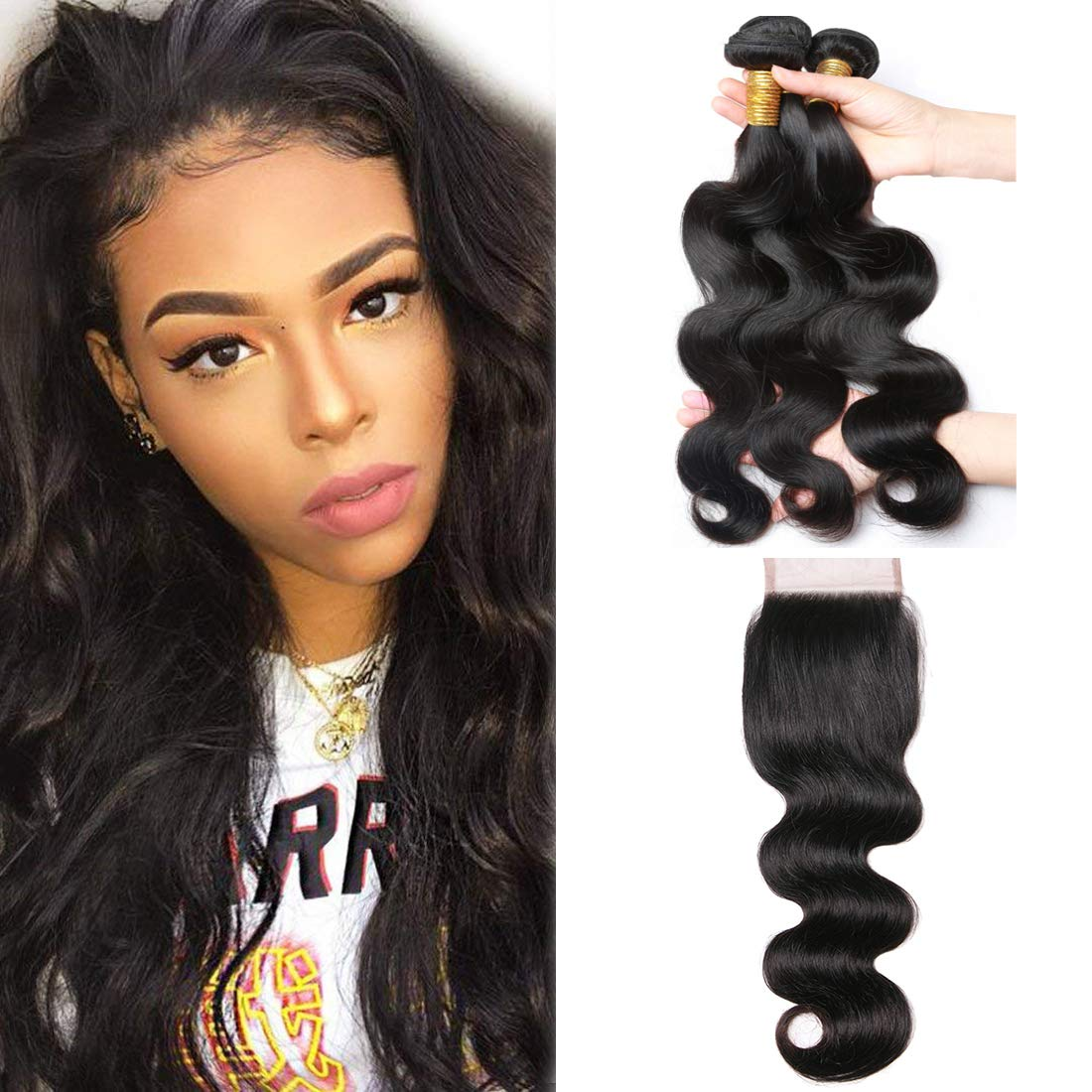 ALIMICE Brazilian Body Wave Bundles With 4x4 Lace Closure with Body Wave 3 bundles Virgin Human Hair Bundles Natural Color (12 14 16 + 10 closure) by ALIMICE