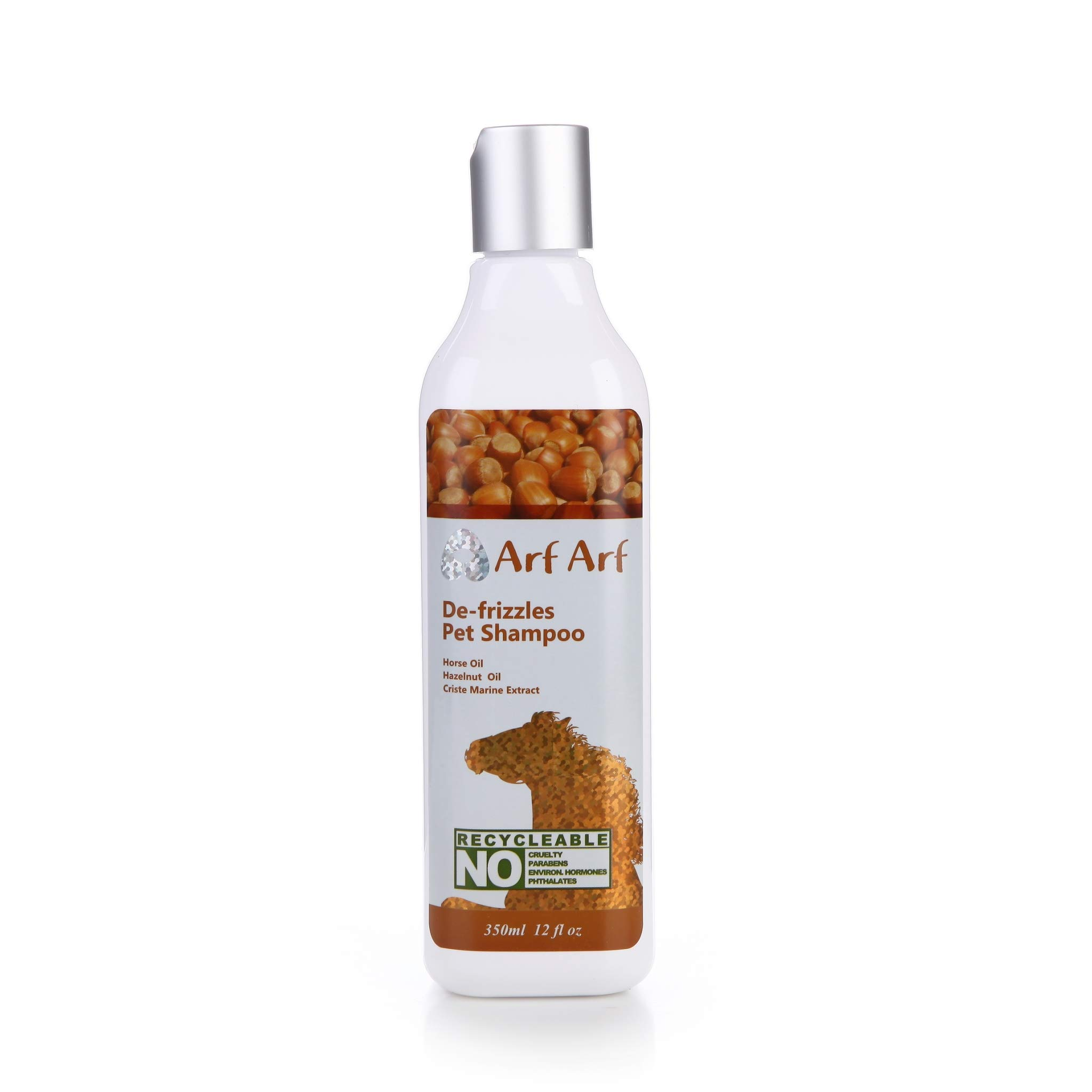Arf Arf De-frizzles Pet Shampoo (For All Dogs & Cats) -Horse Oil, Hazelnut Oil, Criste Marine Extract, 13 Oz