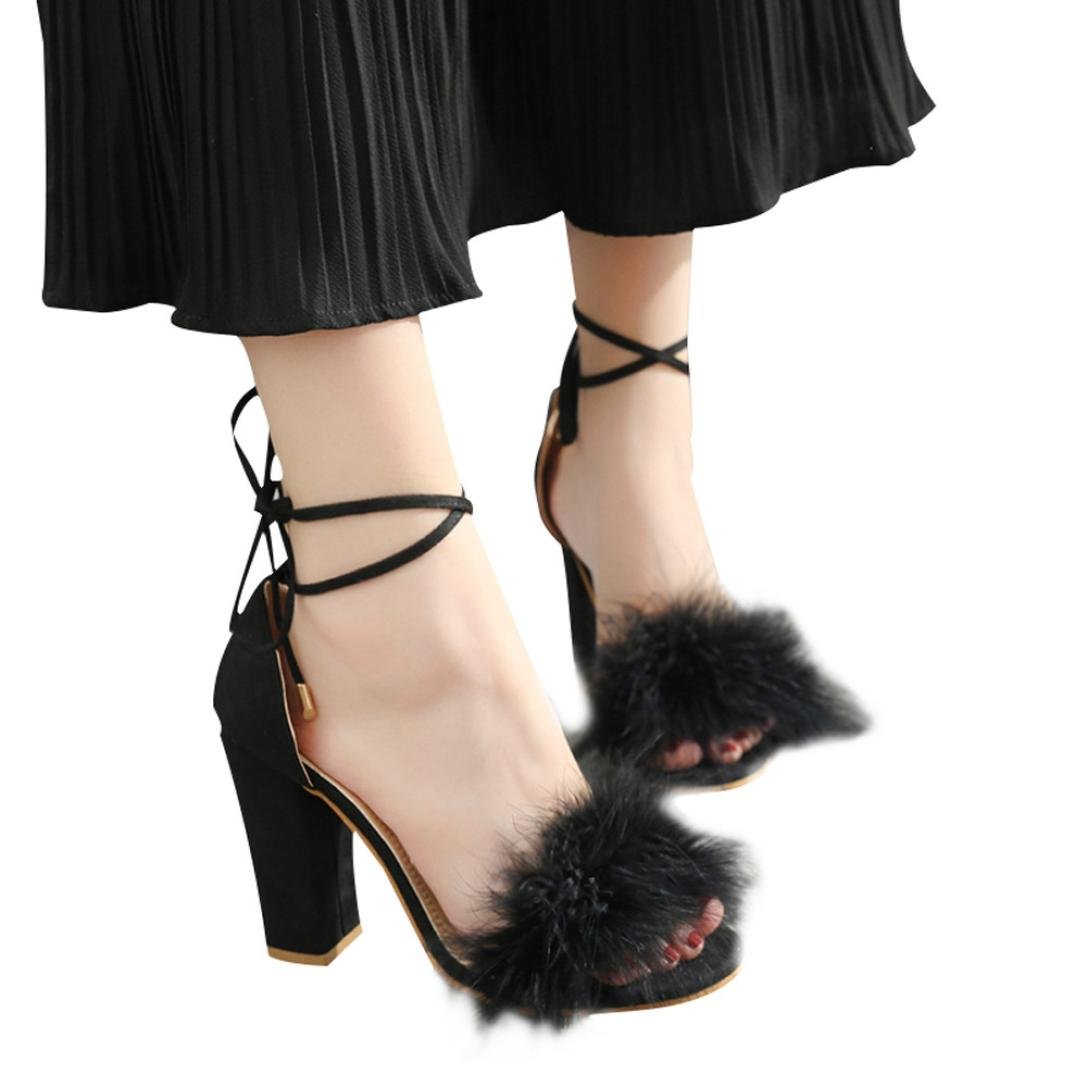 vermers Womens Fish Mouth High Heel Cross Straps Sandals Ankle Feather Party Shoes(US:7.5, Black)