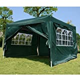 Outsunny 3mx3m Pop Up Gazebo Party Tent Canopy Marquee Water Resistant Free Storage Bag Green
