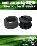 For Bissell 32R9 Circular Upright Vacuum Filter Kit (compares to 2031192, 2031183, 2038161, 2031464, 73K1). Genuine Green Label Product.