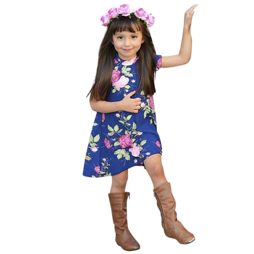 Longra Mère Et Fille Col Rond Manche courte Imprimé floral Robe de famille fille Vêtements Maxi Rayures Vague Avec Taille Haute Dress Longue Ensemble Robe Mini Robes