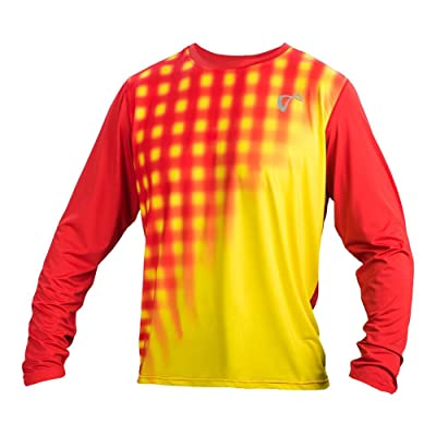 Athletic DNA Men`s Racquet Long Sleeve Tennis Top Buttercup and Poppy-(M317-777F
