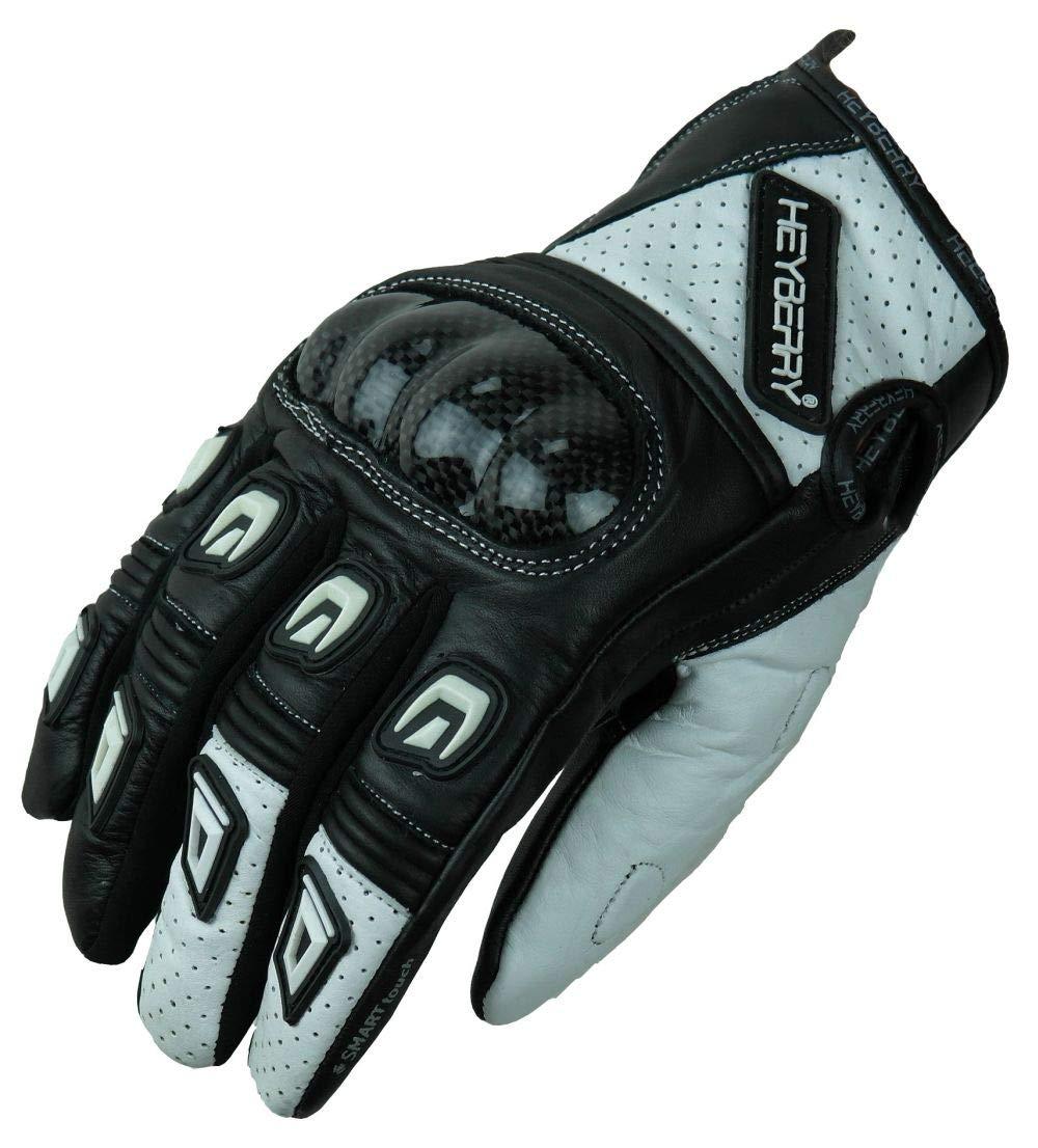 M HEYBERRY Motorradhandschuhe Leder Motorrad Handschuhe kurz schwarz wei/ß Gr